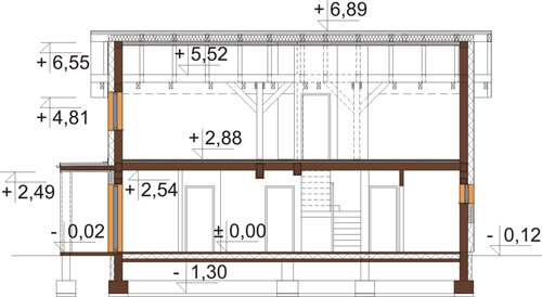 Projekt domu L-6564 - przekrój