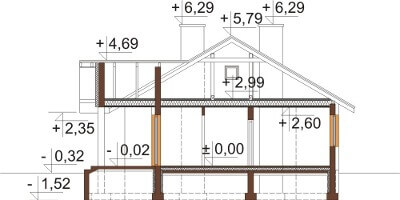 Projekt domu L-6583 - przekrój