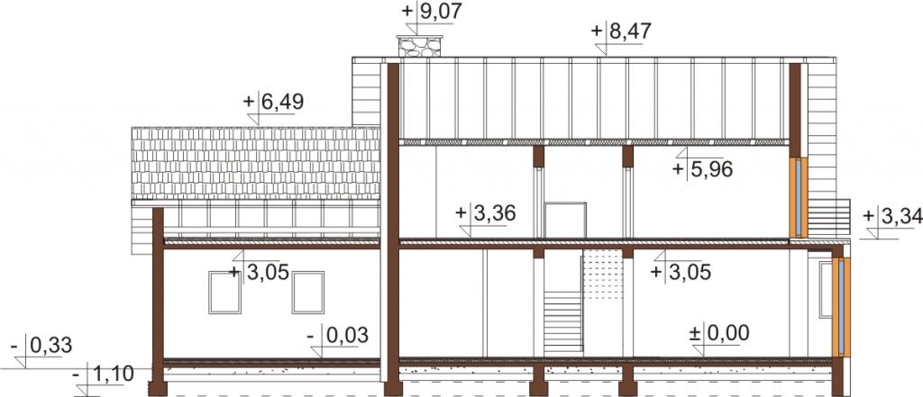 Projekt domu L-6577 - przekrój