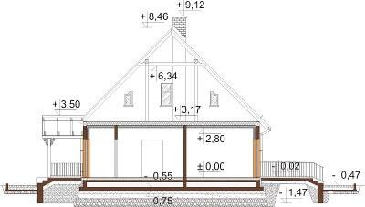 Projekt domu DM-6535 - przekrój