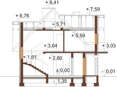 Projekt domu DM-6614 - przekrój