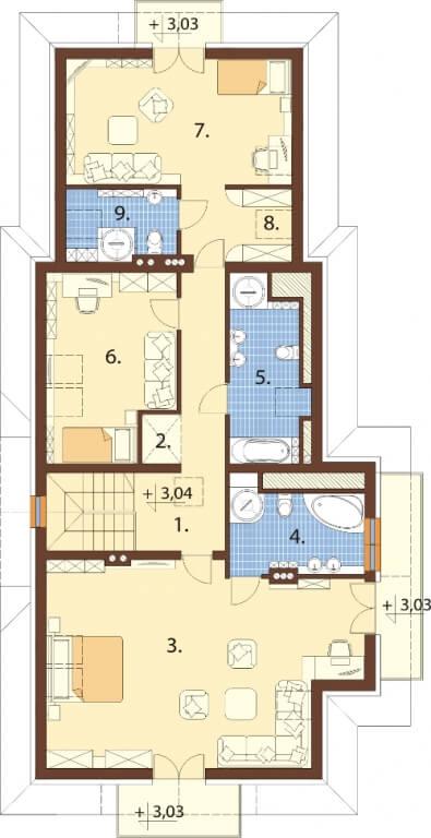 Projekt domu DM-6614 - rzut