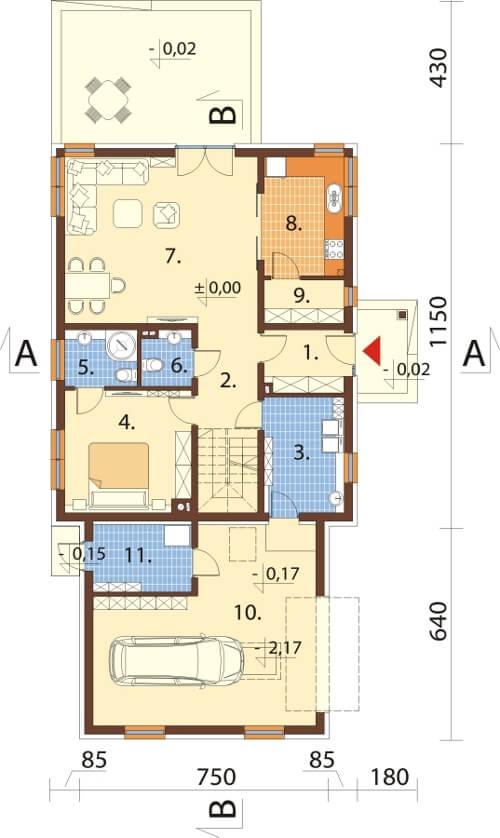 Projekt domu DM-6612 - rzut