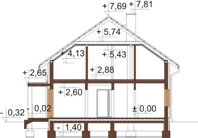 Projekt domu L-6612 - przekrój