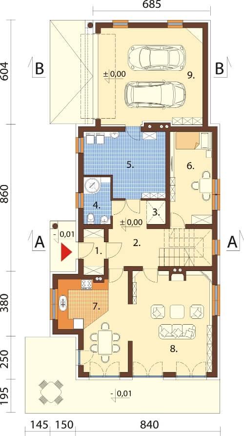 Projekt domu L-6614 - rzut