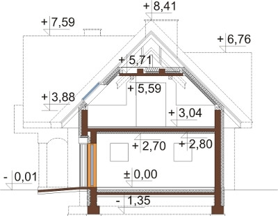 Projekt domu L-6614 - przekrój