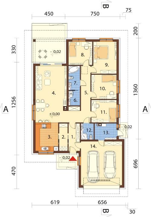 Projekt domu DM-6604 - rzut