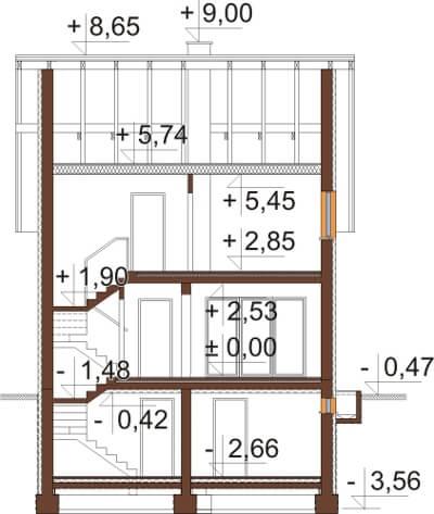 Projekt domu DM-6605 - przekrój