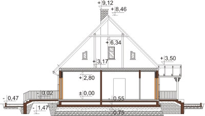 Projekt domu L-6535 - przekrój