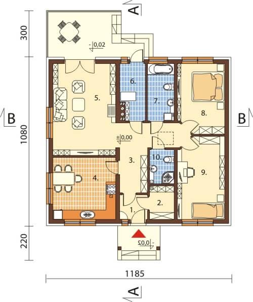 Projekt domu L-6603 - rzut
