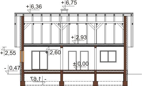 Projekt domu L-6603 - przekrój