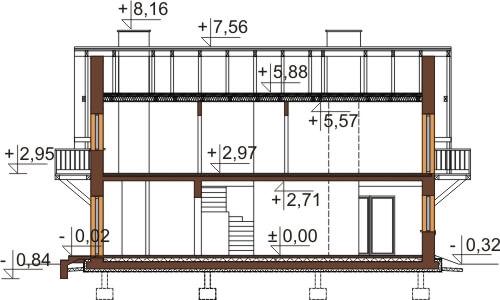 Projekt domu L-6602 - przekrój
