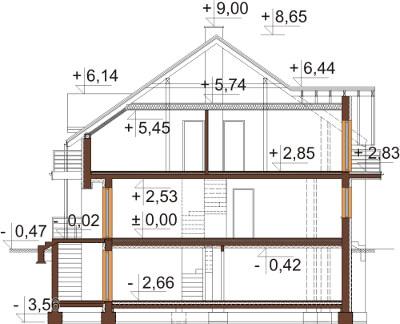 Projekt domu L-6605 - przekrój