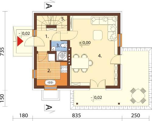 Projekt domu L-6143 E - rzut