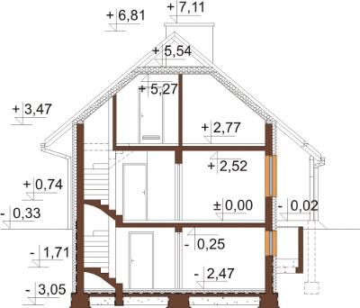 Projekt domu L-6143 E - przekrój
