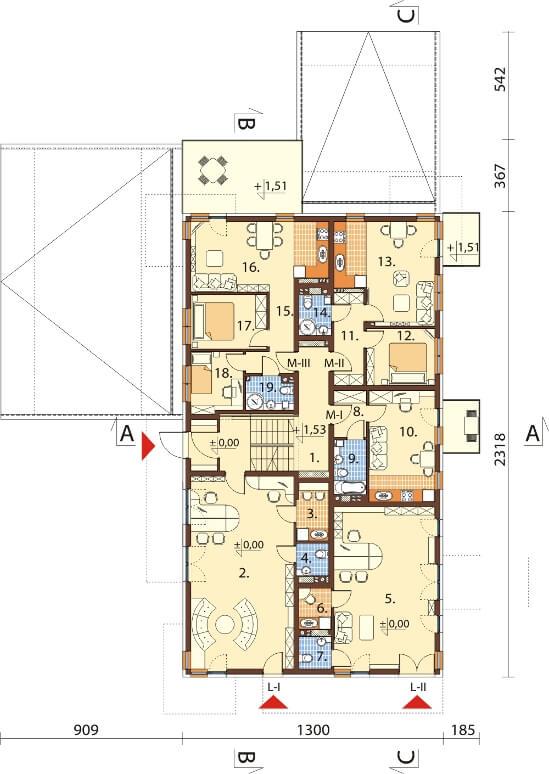 Projekt domu L-6600 - rzut