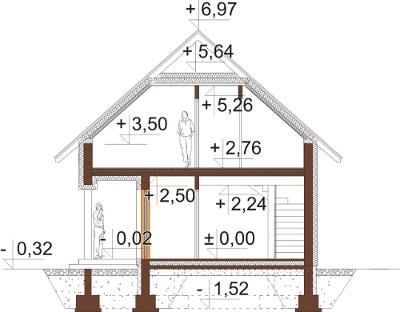 Projekt domu DM-6609 - przekrój