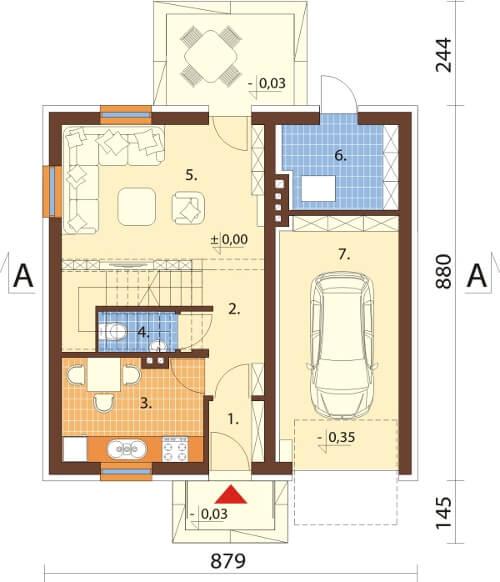Projekt domu DM-6522 - rzut