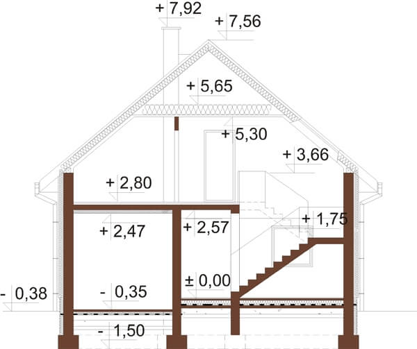 Projekt domu L-6522 - przekrój