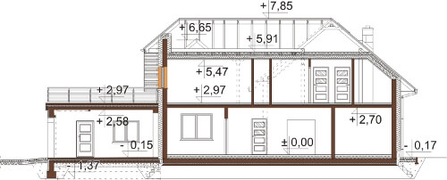 Projekt domu L-6608 - przekrój