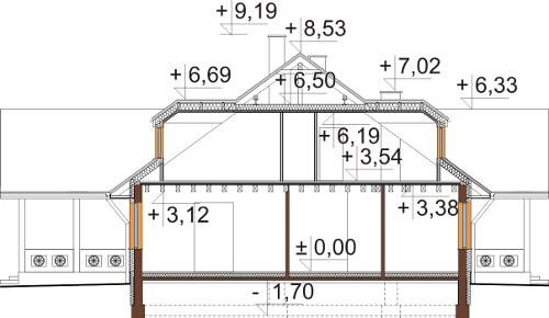Projekt domu DM-6601 - przekrój