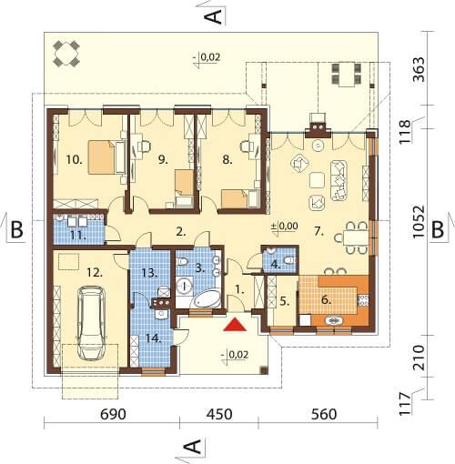 Projekt domu L-6615 - rzut