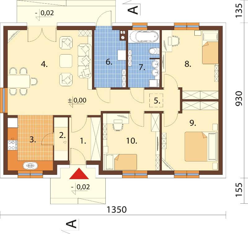 Projekt domu DM-6616 - rzut
