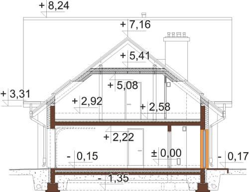 Projekt domu DM-6524 - przekrój