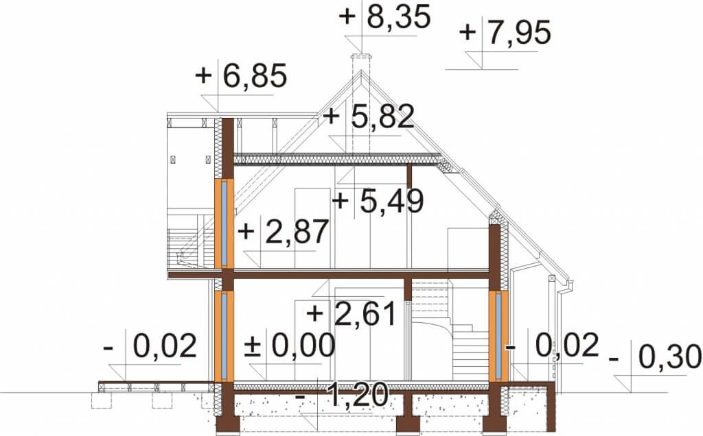 Projekt domu DM-6525 - przekrój