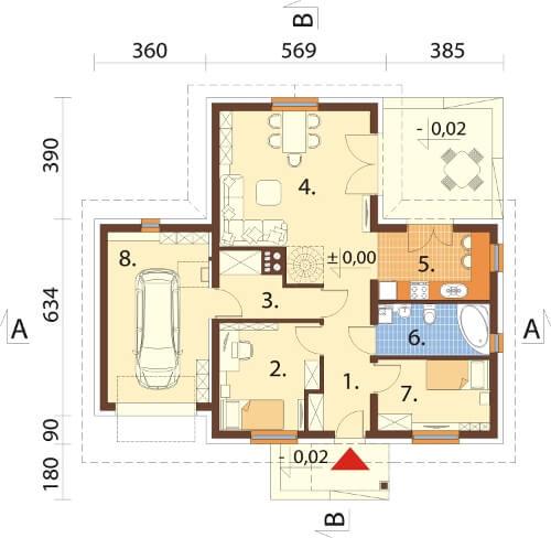 Projekt domu DM-6619 - rzut