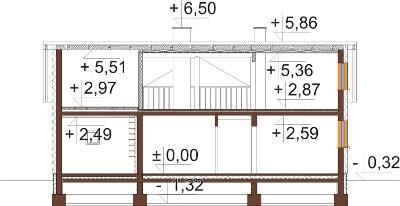 Projekt domu DM-6619 - przekrój