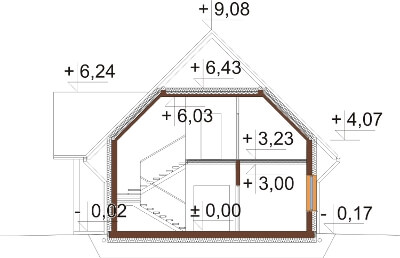 Projekt domu DM-6607 - przekrój