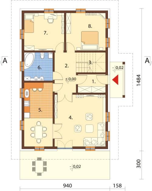 Projekt domu DM-6607 - rzut