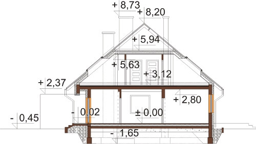 Projekt domu DM-6540 - przekrój