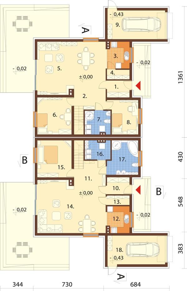 Projekt domu DM-6540 - rzut