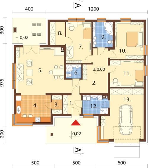 Projekt domu DM-6621 - rzut