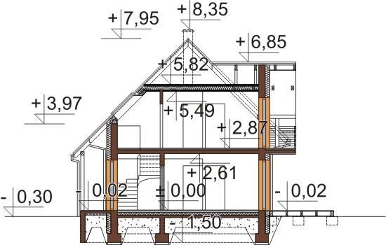 Projekt domu L-6525 - przekrój