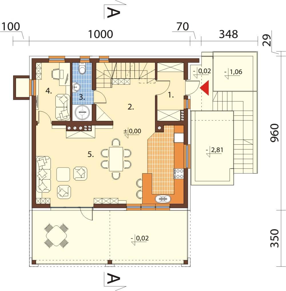 Projekt domu L-6611 - rzut