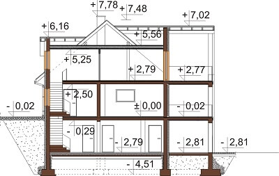 Projekt domu L-6611 - przekrój