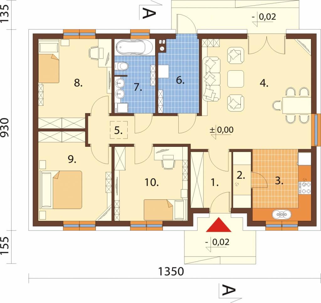 Projekt domu L-6616 - rzut