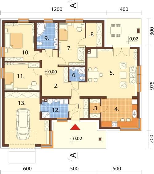 Projekt domu L-6621 - rzut