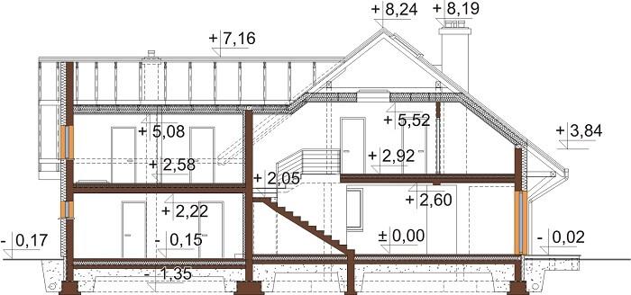 Projekt domu L-6524 - przekrój
