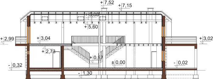 Projekt domu L-6606 - przekrój