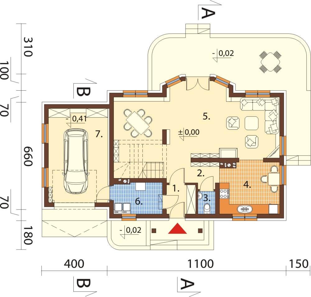 Projekt domu L-6610 - rzut