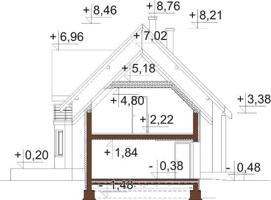 Projekt domu L-6610 - przekrój