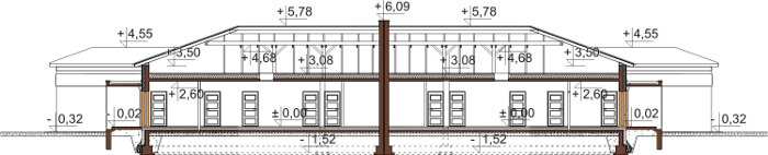 Projekt domu L-6526 - przekrój