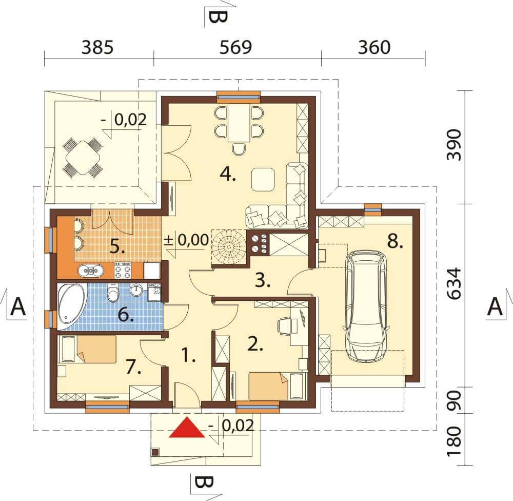 Projekt domu L-6619 - rzut