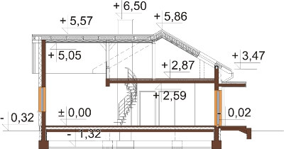 Projekt domu L-6619 - przekrój