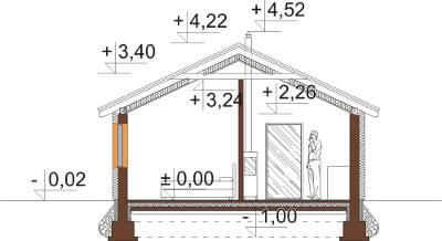 Projekt domu L-6634 - przekrój