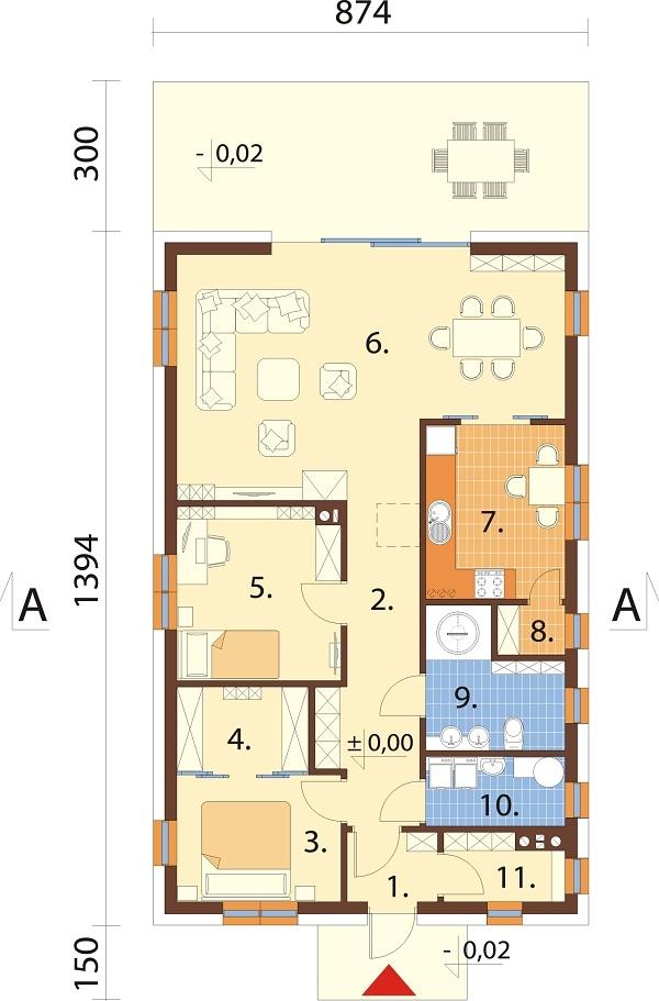 Projekt domu DM-6636 - rzut